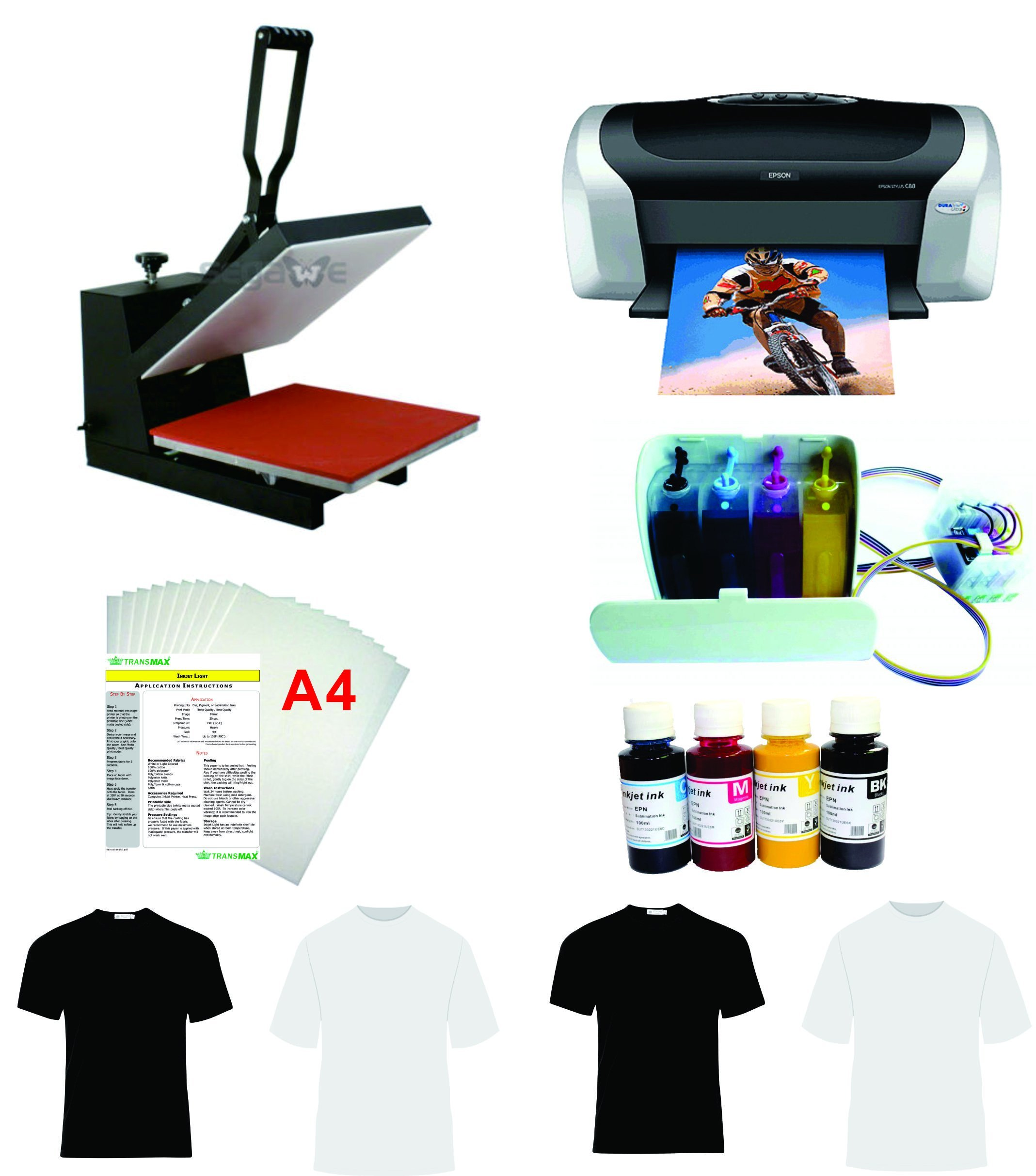 15x15'' Flat Heat Press A4 Epson Printer Paper Ink CISS Start-up KIT T-shirts
