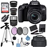 Canon EOS Rebel 800D (T7i) DSLR Camera w/ 18-55mm Lens(Black) with Accessory Bundle, Package Includes: SanDisk 32GB Card…