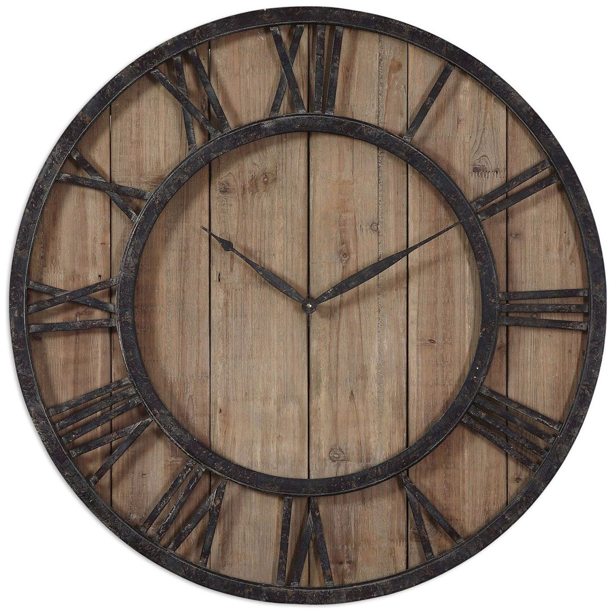 Amazon uttermost 06344 powell wooden wall clock home kitchen amipublicfo Gallery