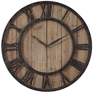 Amazoncom Uttermost 06344 Powell Wooden Wall Clock Home Kitchen