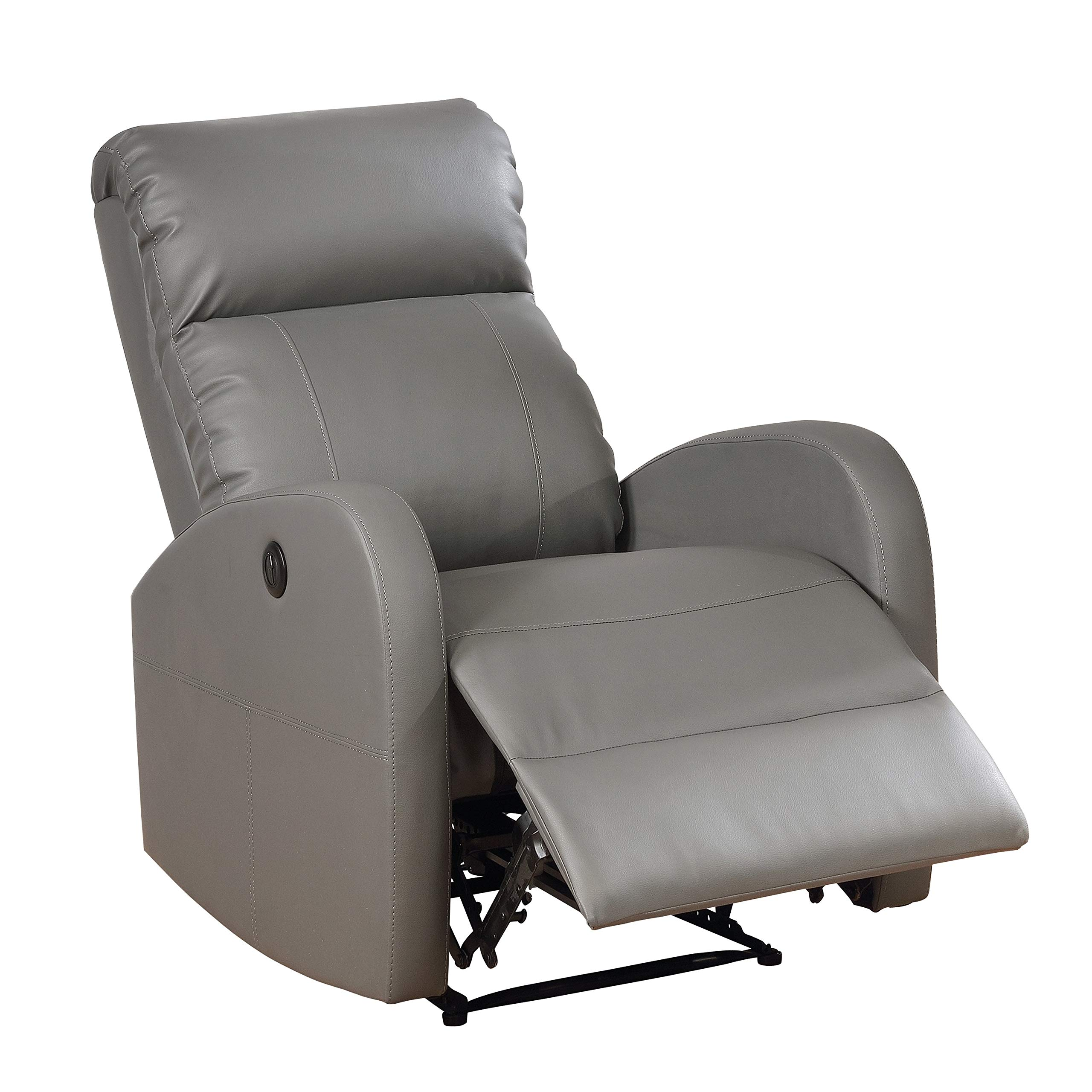 AC Pacific Modern Faux Leather Small Powered Reading Recliner Grey by AC Pacific
