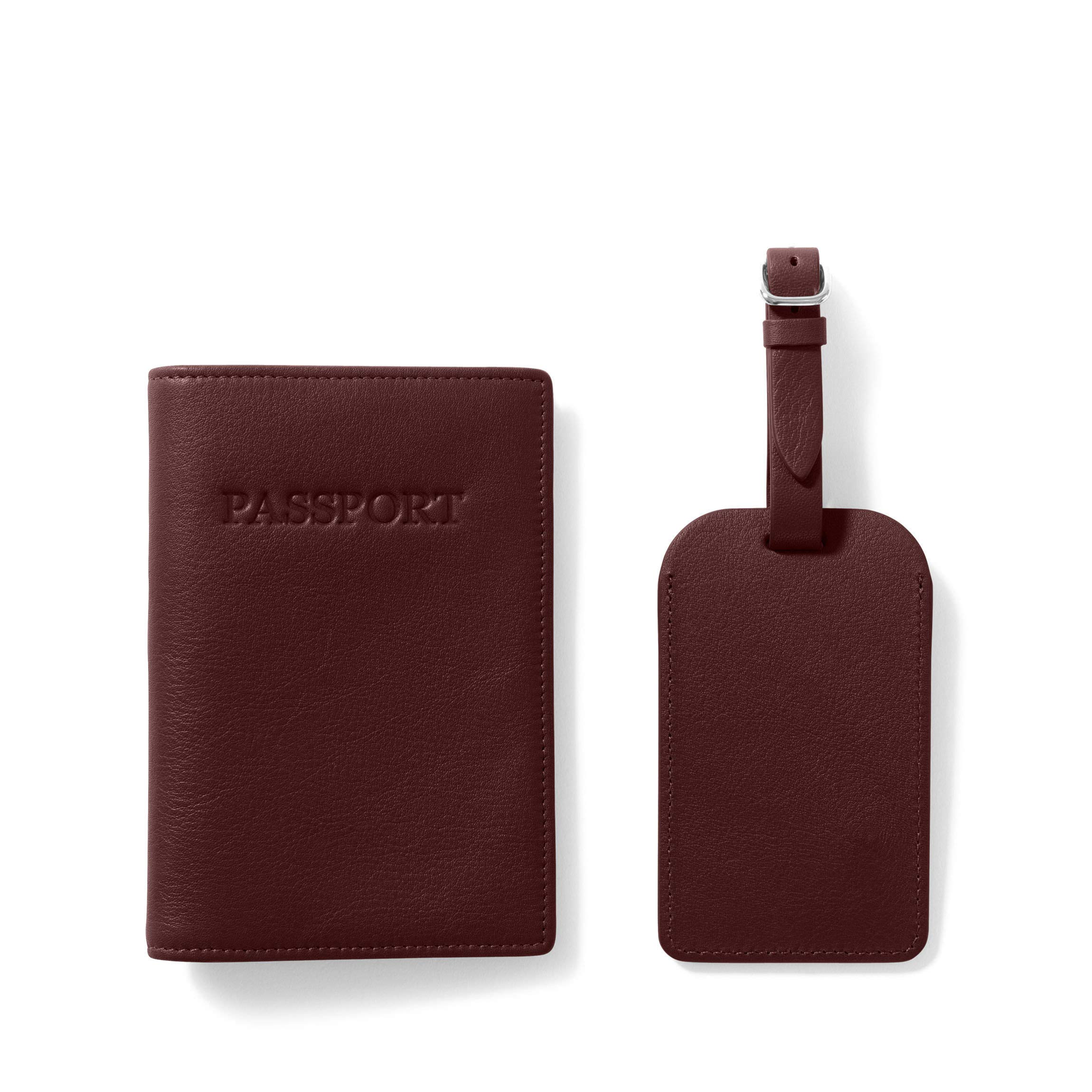 Passport Cover + Luggage Tag - Full Grain Leather Leather - Bordeaux (Red)