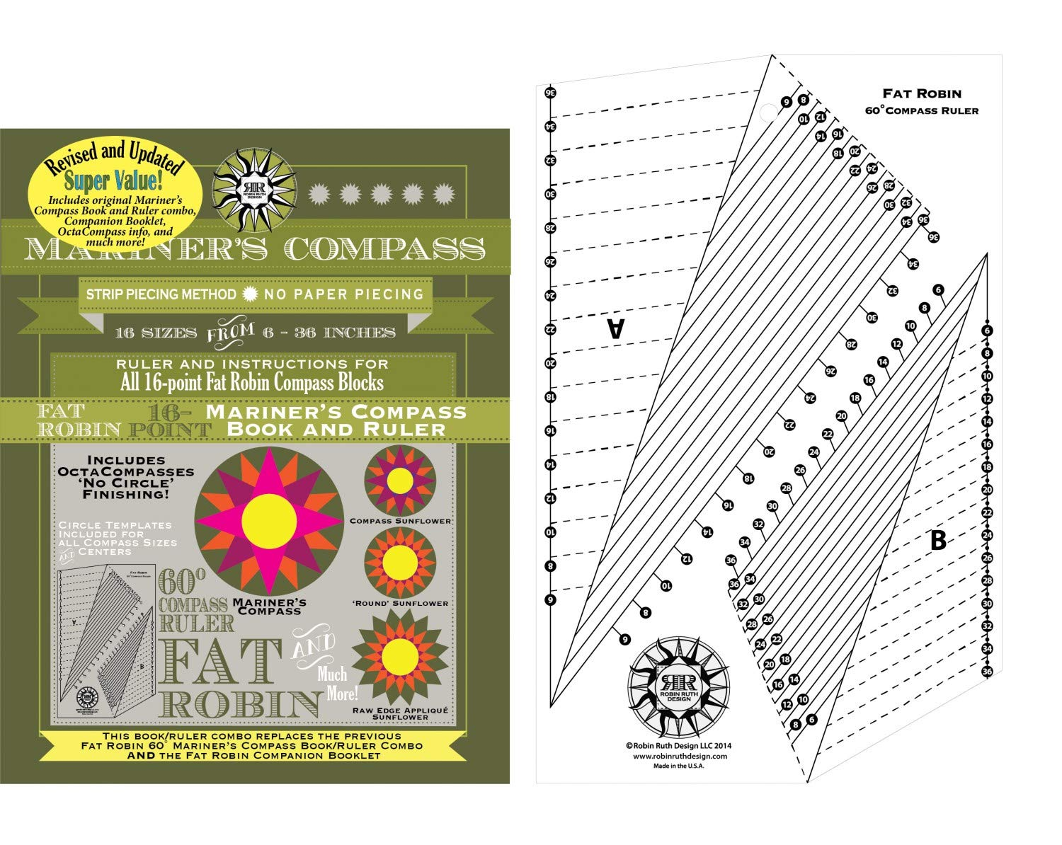 Mariner's Compass Fat Robin Ruler and Instruction Manual for Quilt Patterns - Revised and Updated for 2019! by Robin Ruth Designs
