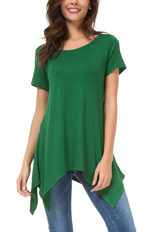 5d9ed0ba0e3e27 Urban CoCo Womens Short Sleeve Tunic Tops Swing Loose Tee Shirt at Amazon  Women s Clothing store
