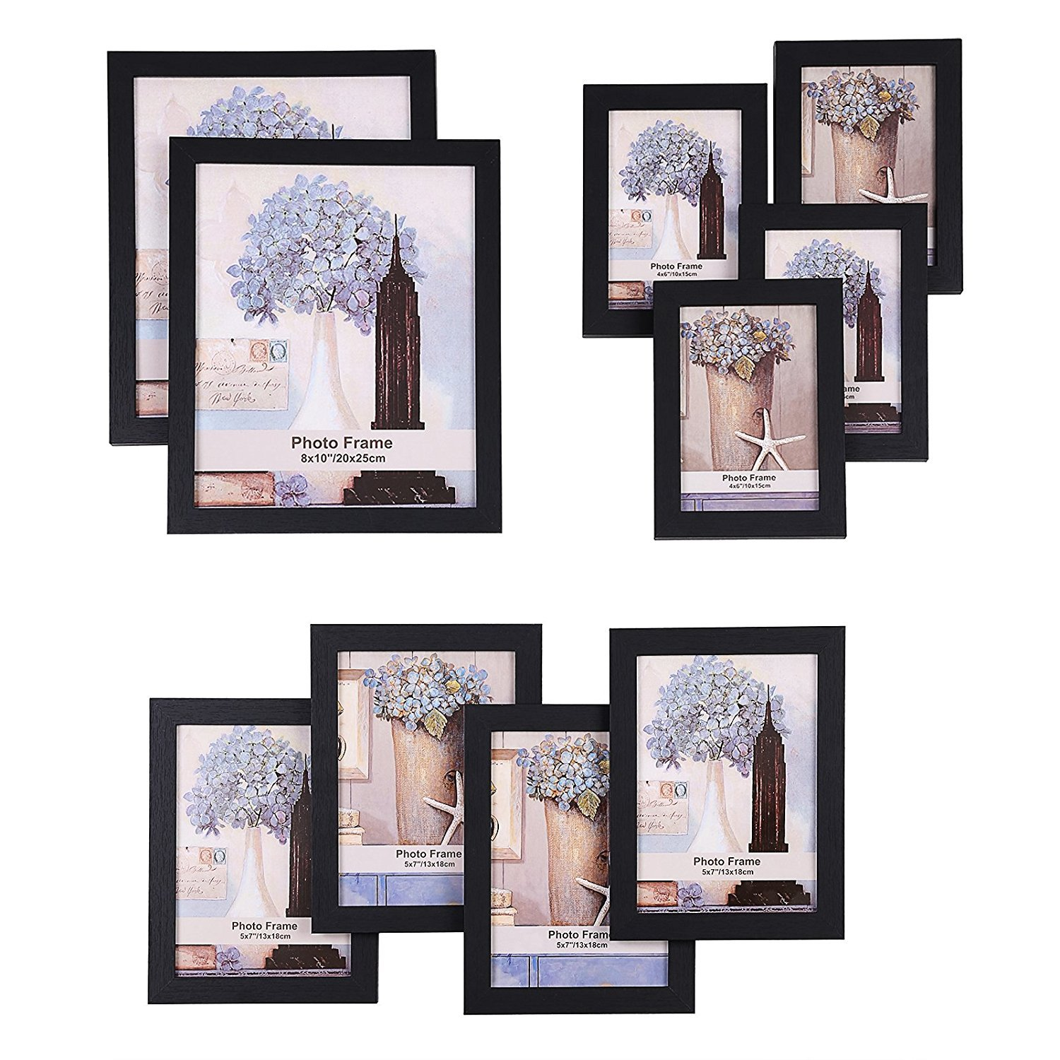 SONGMICS Picture Frames Set of 10 Frames with Glass Front - Two 8x10 Inches in, Four 5x7 Inches in, Four 4x6 Inches in, Collage Photo Frames Wood Grain Black URPF10B by SONGMICS