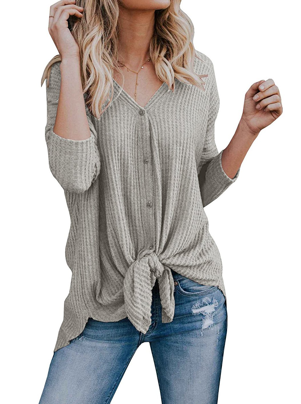 GOLDSTITCH Womens Vintage Loose fit Tunic Blouse Tie Knot Henley Tops Bat Wing Plain Shirts