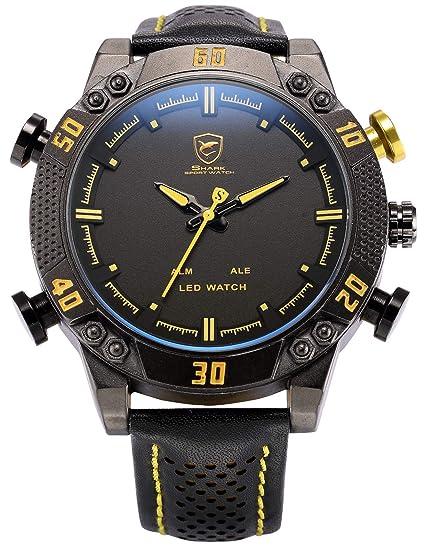 Shark SH263 - Reloj Hombre de Cuarzo, Correa de Cuero Negro, Esfera Negra, Alarma: Amazon.es: Relojes