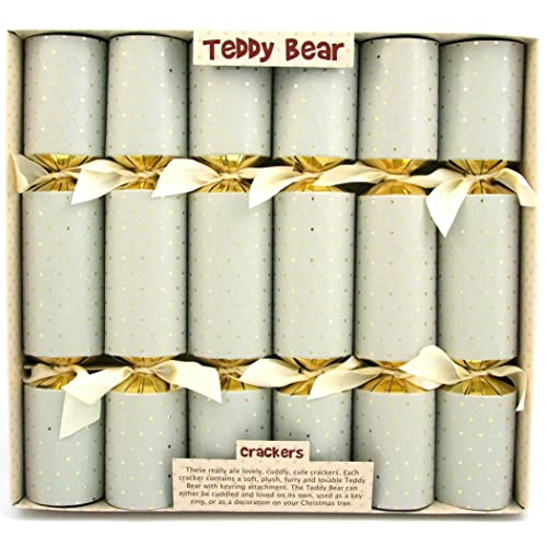 6 cuddly teddy bear christmas crackers