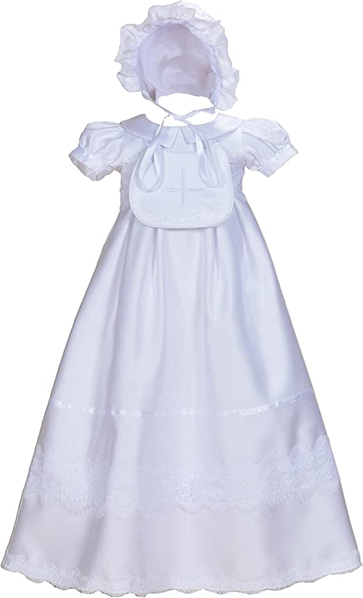Cinda Baby White Satin Long Sleeves Christening Gown Bonnet 0 3 6 9 12 Months