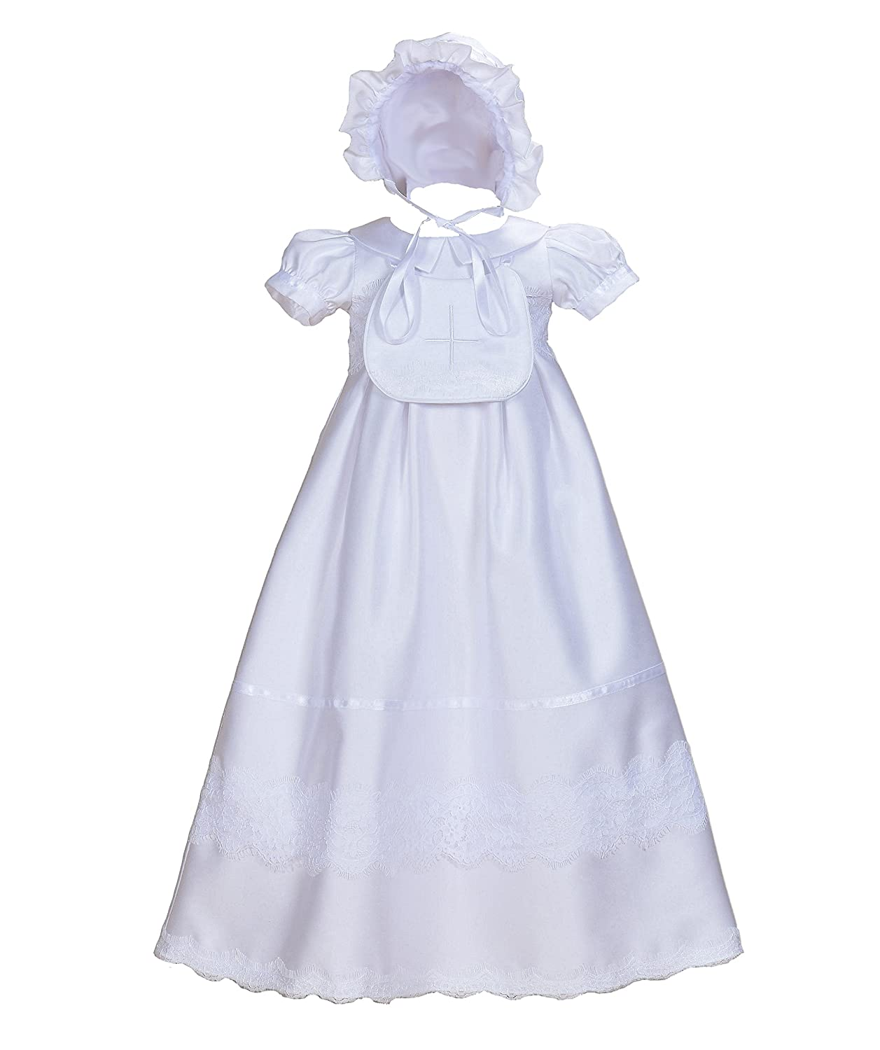 Cinda Baby Girls' Satin Christening Gown With Bib And Bonnet
