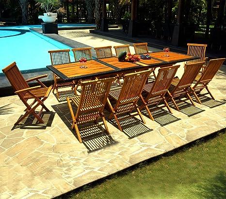 Salone Da Giardino In Tek E Resina Da 12 Posti Tavolo 200 250 300 Cm Amazon It Giardino E Giardinaggio