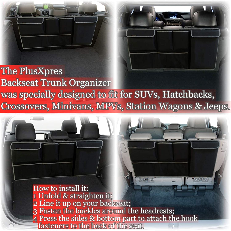 Hatchback Auto Hanging Seat Back Storage Car Backseat Trunk Organizer Multipurpose Cargo Accessory Minivan Space Saving Facilitator for SUV Trunk Elastic Strap Belt Included Jeep Crossover