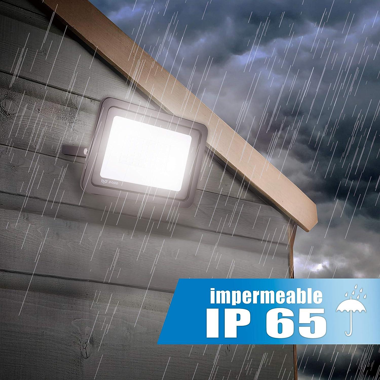 30 W POPP/® IP65 10 W 30 Watt Set di 5 e 10 faretti a LED luce fredda 6000 K impermeabile per esterni 20 W colore: nero e resistente allacqua 1 unidad Faretto