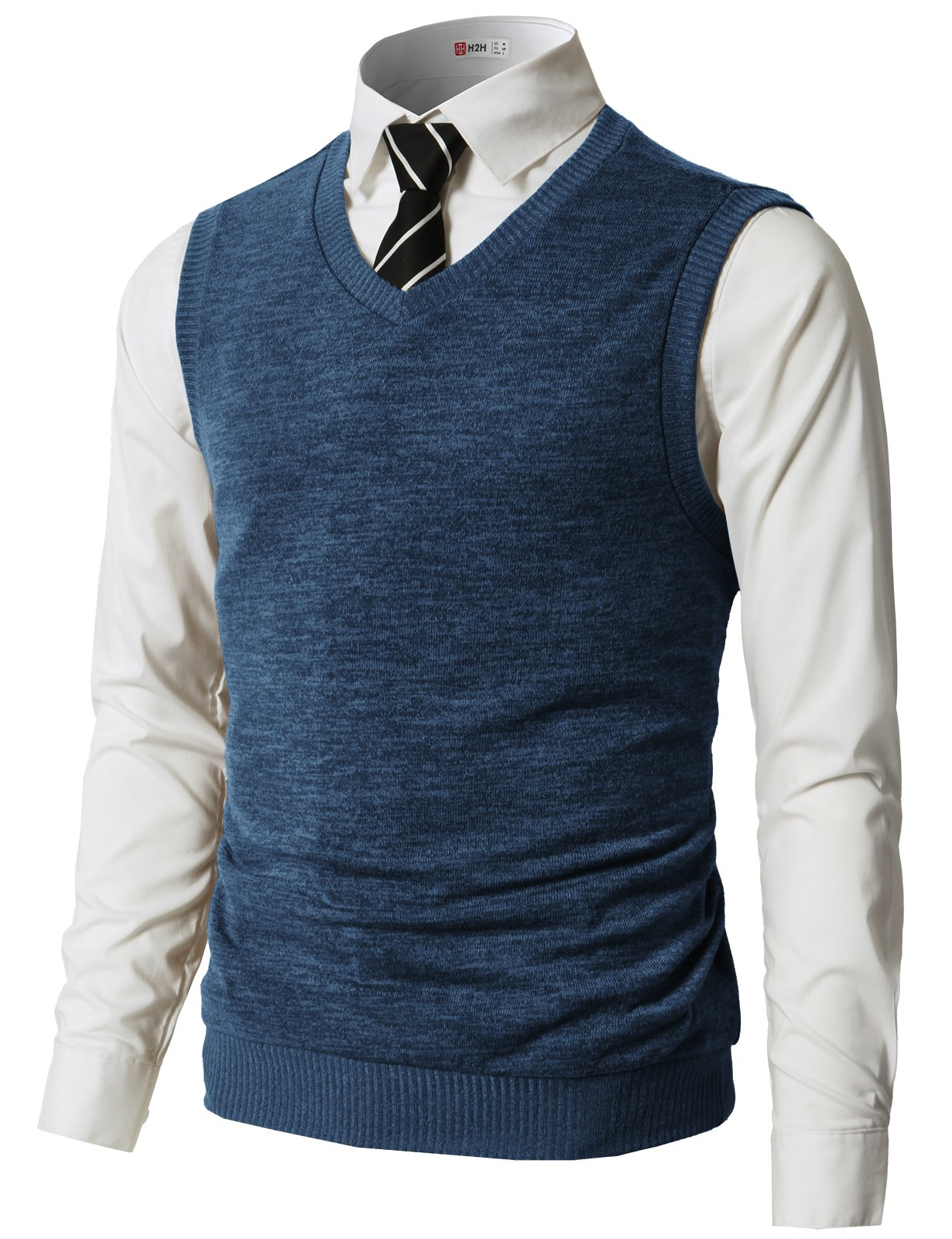 H2H Mens Casual Slim Fit Knitted V-Neck Button-Down Vests Of Various Colors Blue US M/Asia L (CMOV042)