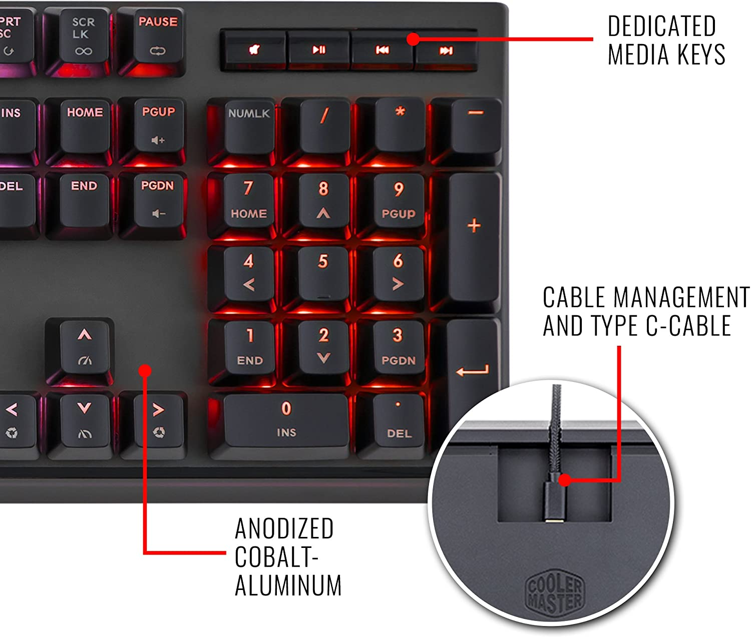 Cooler Master MasterKeys MK750 Mechanical Gaming Keyboard with Cherry MX Red and Removable Wrist Rest