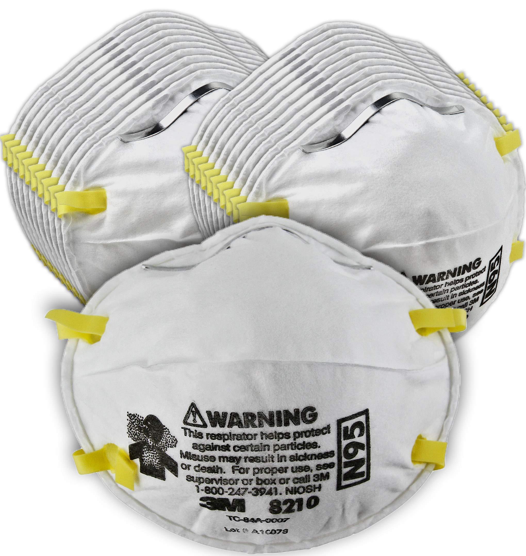 3M 8210 N95 입자 호흡 마스크 - 우한 신종 코로나 바이러스 예방, 20개 세트 구성 3M Particulate Respirator 8210, N95, 20/Pack