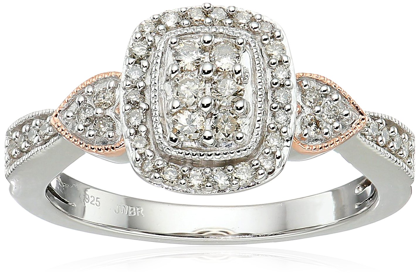 14k Rose Gold over Sterling Silver Diamond Halo Engagement Ring (1/3 cttw), Size 7