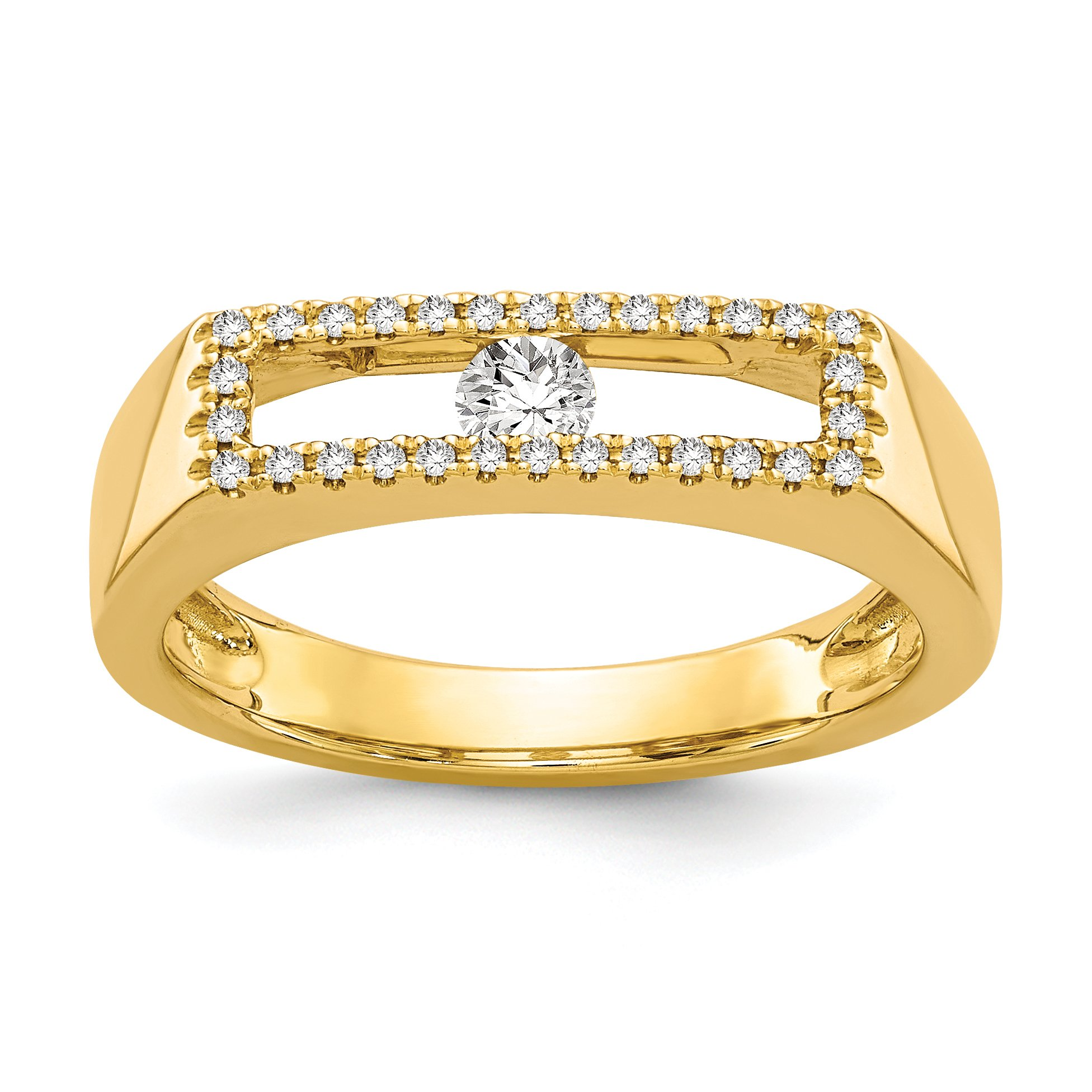 ICE CARATS 14k Yellow Gold Diamond Band Ring Size 7.00 Fine Jewelry Gift Set For Women Heart