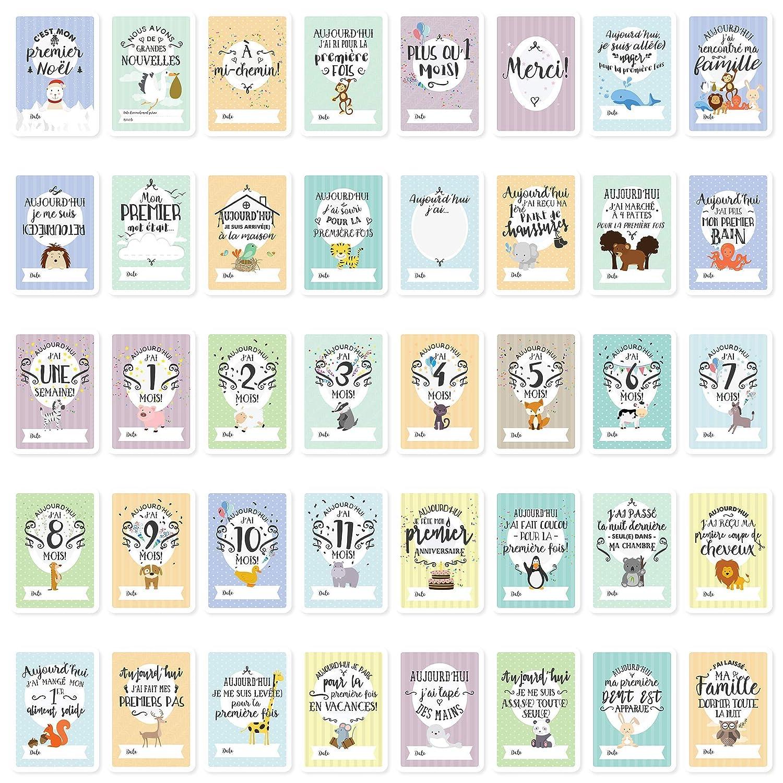 Tarjetas de Etapas del Beb/é y Caja de Recuerdos con los Logros de Edades Claves y Embarazo 40 Tarjetas de Fotos de Momentos Especiales Unisex el Regalo Ideal para la Futura Mam/á Alem/án