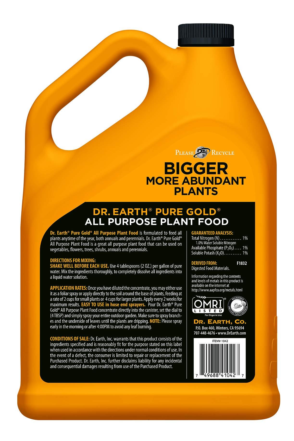 Dr. Earth Liquid Pure Gold All Purpose Fertilizer 1 Gallon by Dr. Earth (Image #2)