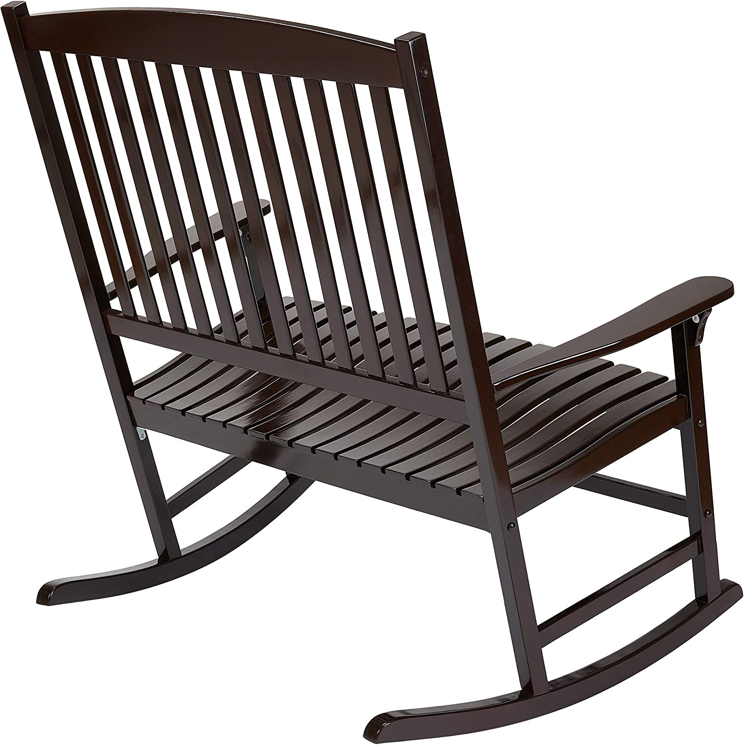 All-Weather Outdoor Seats 2 Porch Double Rocker Rocking Chair Dark Brown with Outdoor Pillow Bundle Set