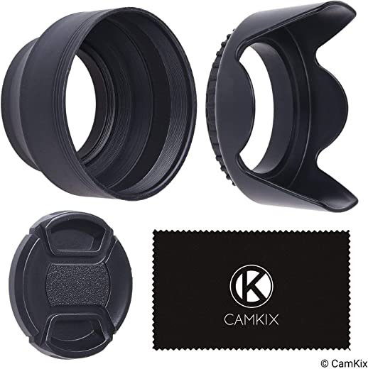 72mm Set of 2 Camera Lens Hoods and 1 Lens Cap - Rubber (Collapsible) + Tulip Flower - Sun Shade/Shield - Reduces Lens Flare and Glare - Blocks Excess Sunlight for Enhanced Photography and Video Foo