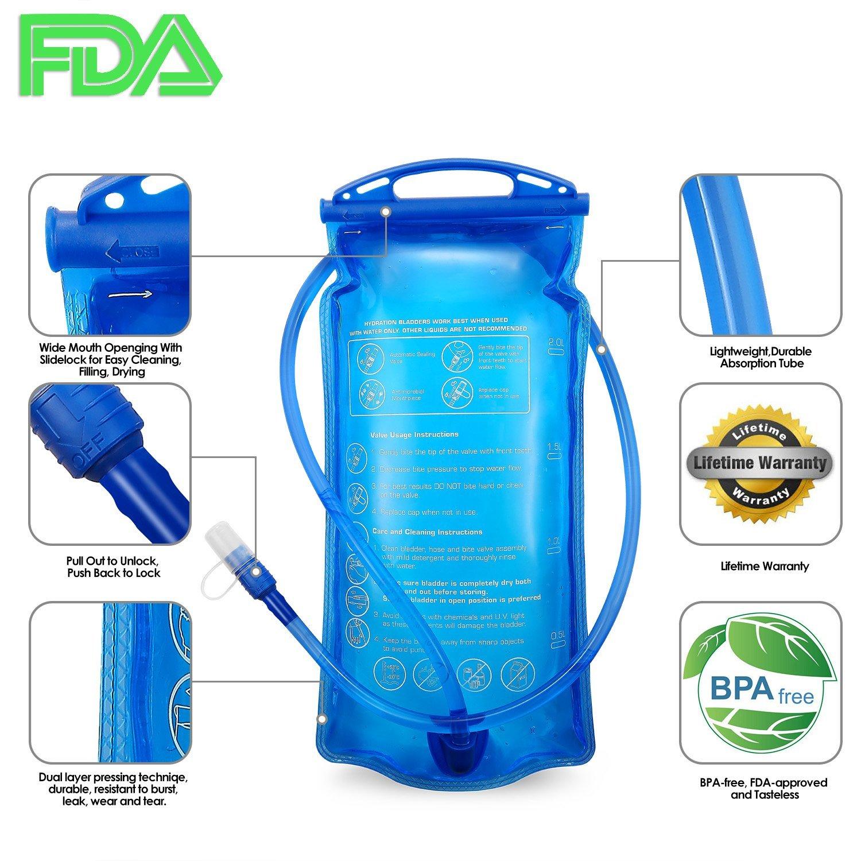 Acampada y senderismo Accesorios para mochilas Portable 2 liter water hydration bag authorized FDA tadellos de burb en Espacios Exteriores SKL WB001