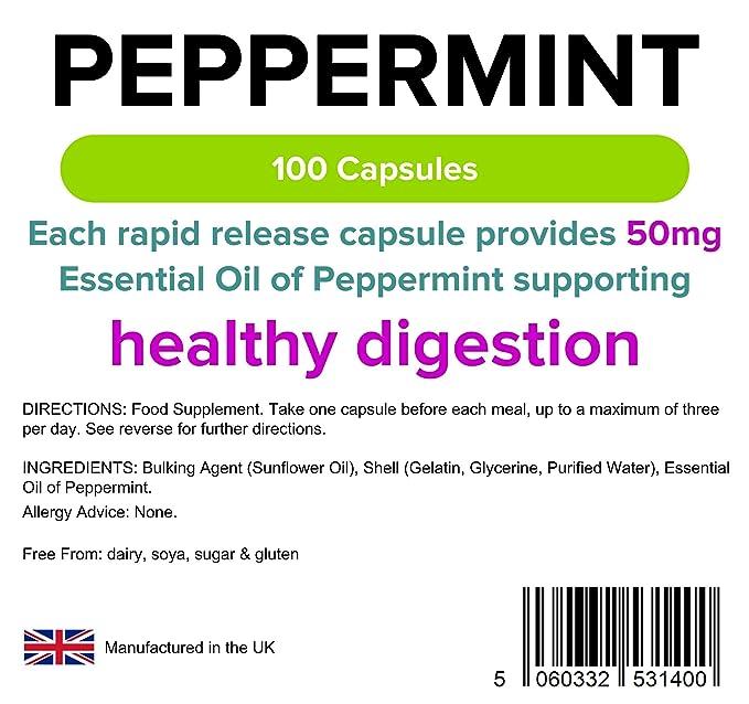 Lindens Aceite de menta 50 mg en cápsulas | 100 Paquete | Aceite esencial de menta que ayuda a una digestión saludable