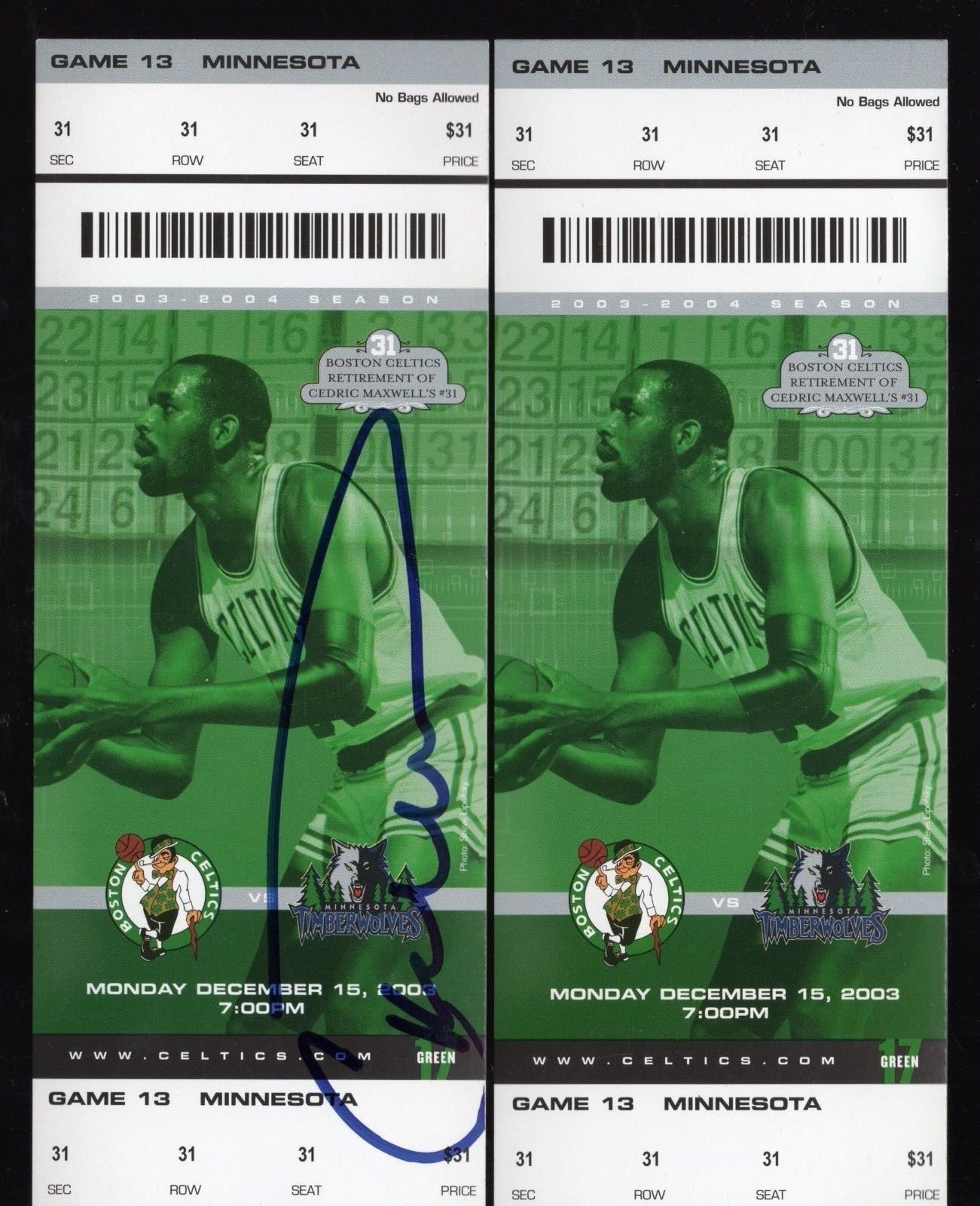 Dec 15, 2003 Cedric Maxwell Retirement Night Ticket & Autographed Ticket