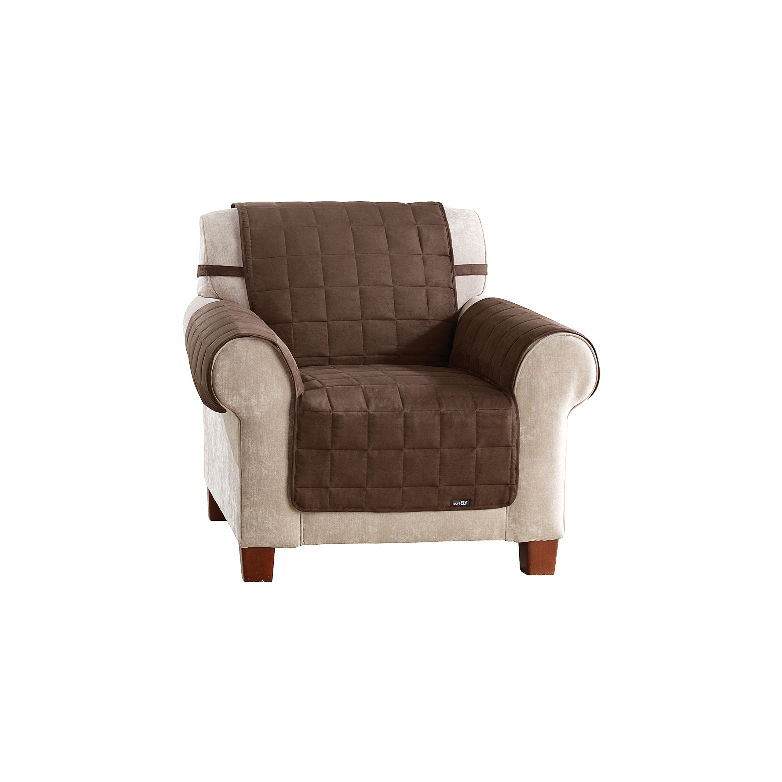 Sure Fit Soft Suede Waterproof - Chair Slipcover  - Chocolate (SF40895) by Surefit