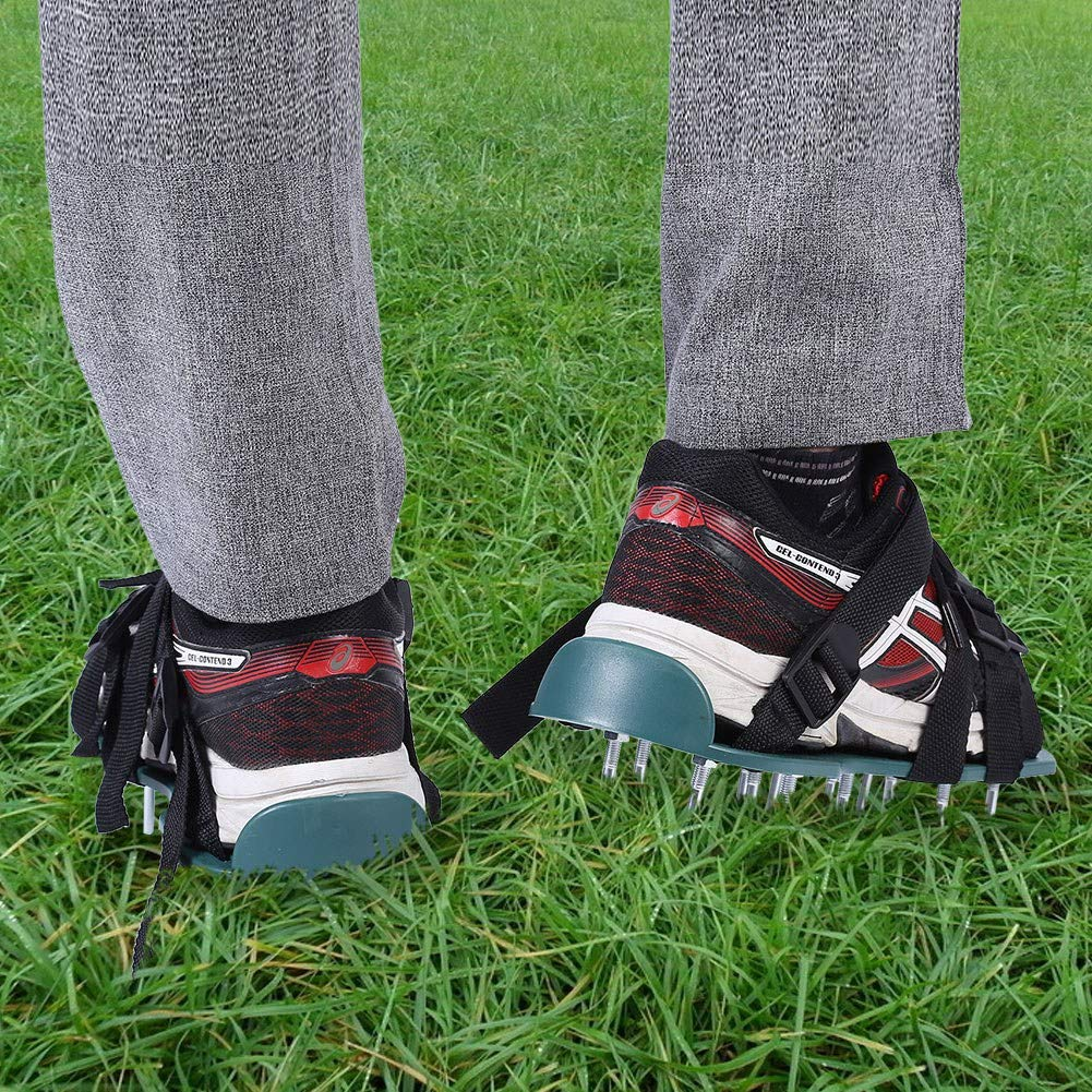 3 Straps 1 Pair of Lawn Aerator Sandals Soil Loosening Aerator Spiked Shoes Garden Loose Shoes Gardening Tool for Green Garden Grass Spikes