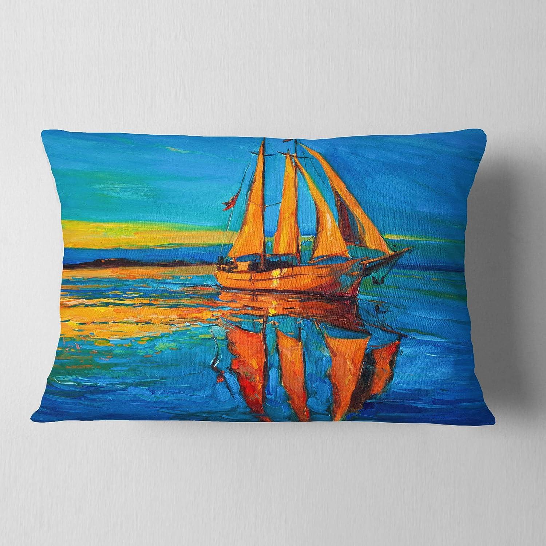 Designart CU7623-12-20 Brown Sailing Boat Throw Pillow 12 x 20