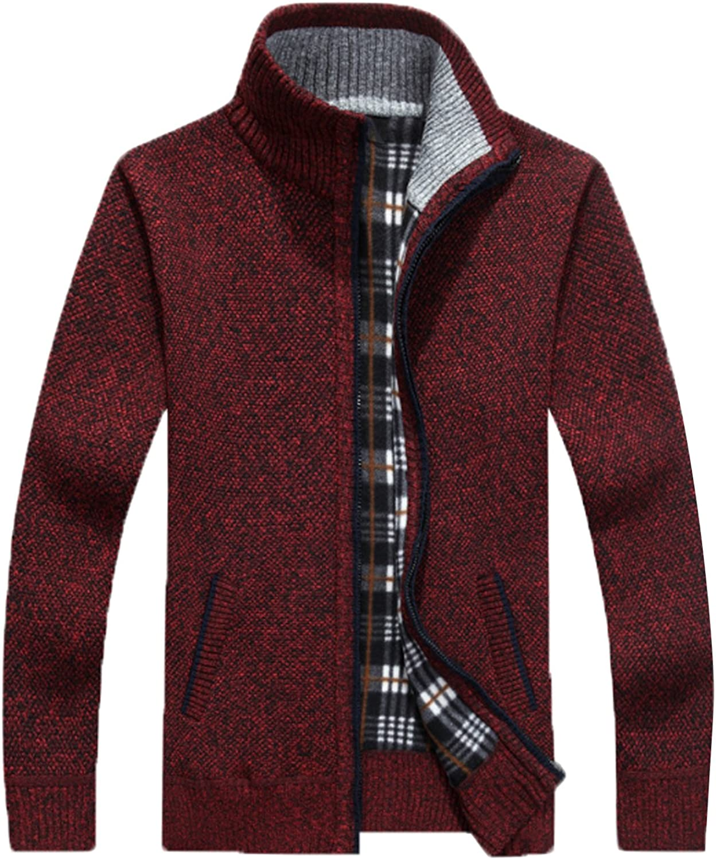 JOKHOO Mens Zip Knitted Cardigan Sweater