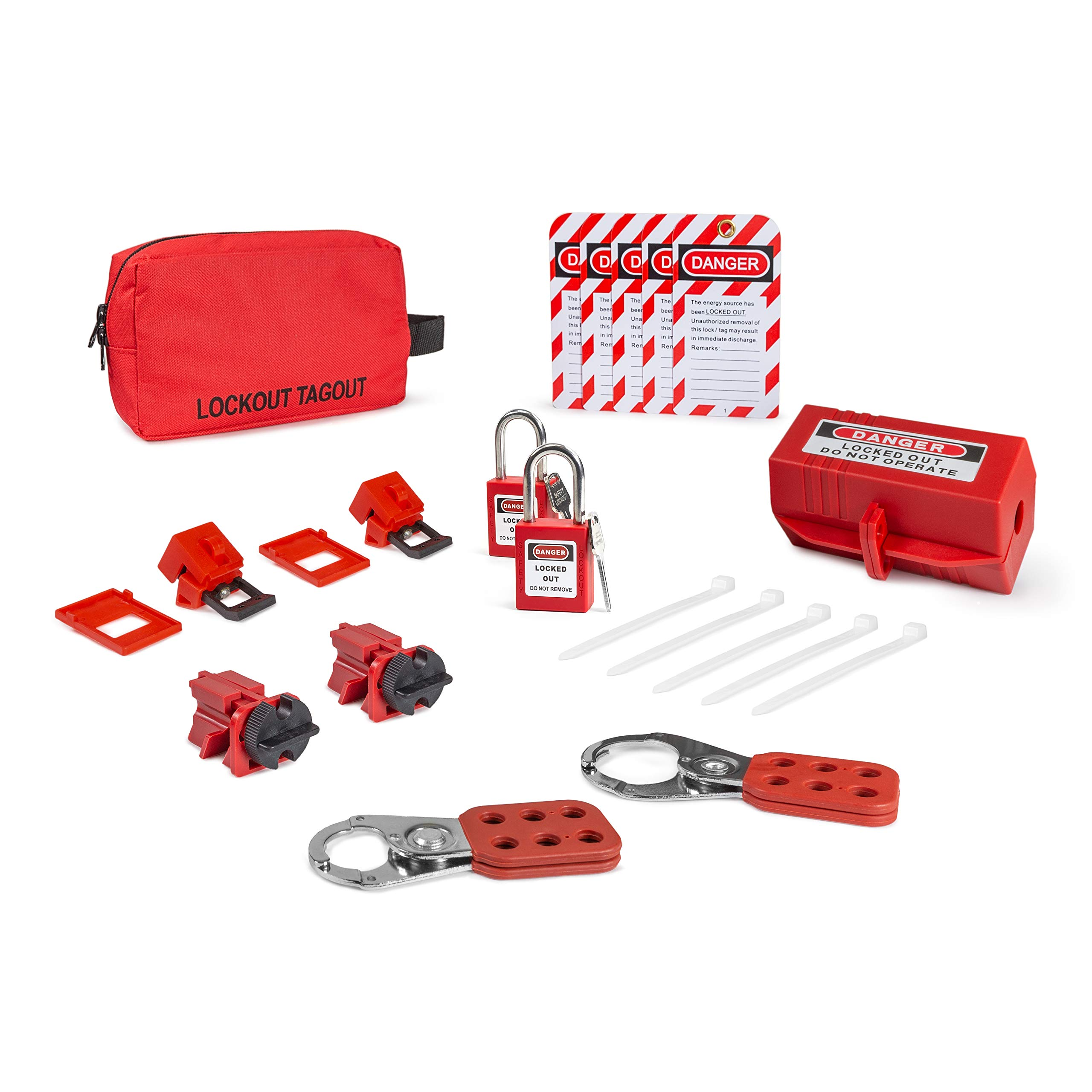 Electrical Lockout TAGOUT KIT w/Hasps, Clamp On Breaker Lockouts, Universal Multipole Breaker Lockouts, Loto Tags, Plug Lockout, Lockout Tagout Safety Padlocks | OSHA Compliance for Lock Out tag Out by TRADESAFE