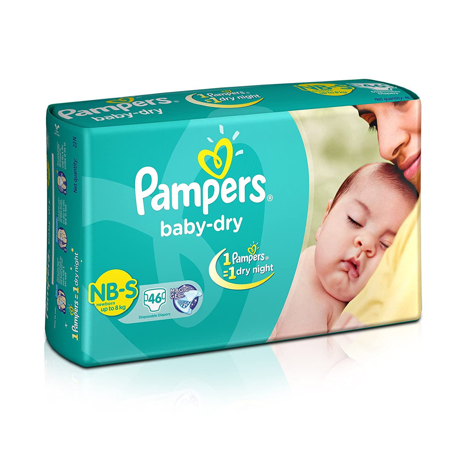 Pampers Baby Dry Diapers NB-Small Size (46 Count)
