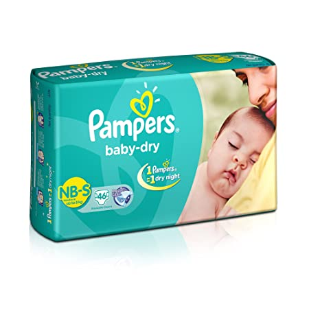 Pampers Baby Dry Diapers, New Born (46 Count)