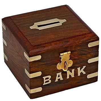 ba5425e9972c ShalinIndia Tirelire carrée en bois - Bank - Ouverture et fermeture facile  - idée cadeau noel