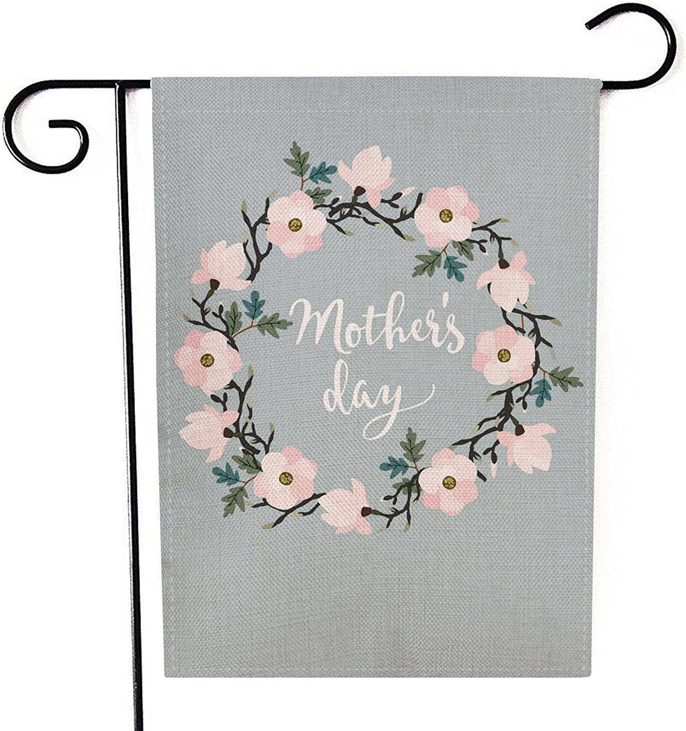 Kissenday Happy Mother's Day Garden Flag, 12.5 x 18 Inch Outdoor Decoration Gift Floral Wreath Vertical Double Sided Banner Yard Decor
