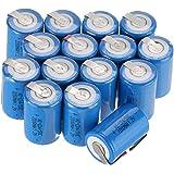 Lot de 6/10/12/15 batteries rechargeables au nickel-cadmium Anmas Box avec attache, 4/5Subc 1,2V 2 200mAh  Lot de 15 bleu