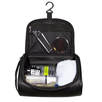 a40e81b22a Mens Toiletry Bag Leather Shaving Dopp Kit Hanging Travel Toiletry Bag for  Men and Women Makeup