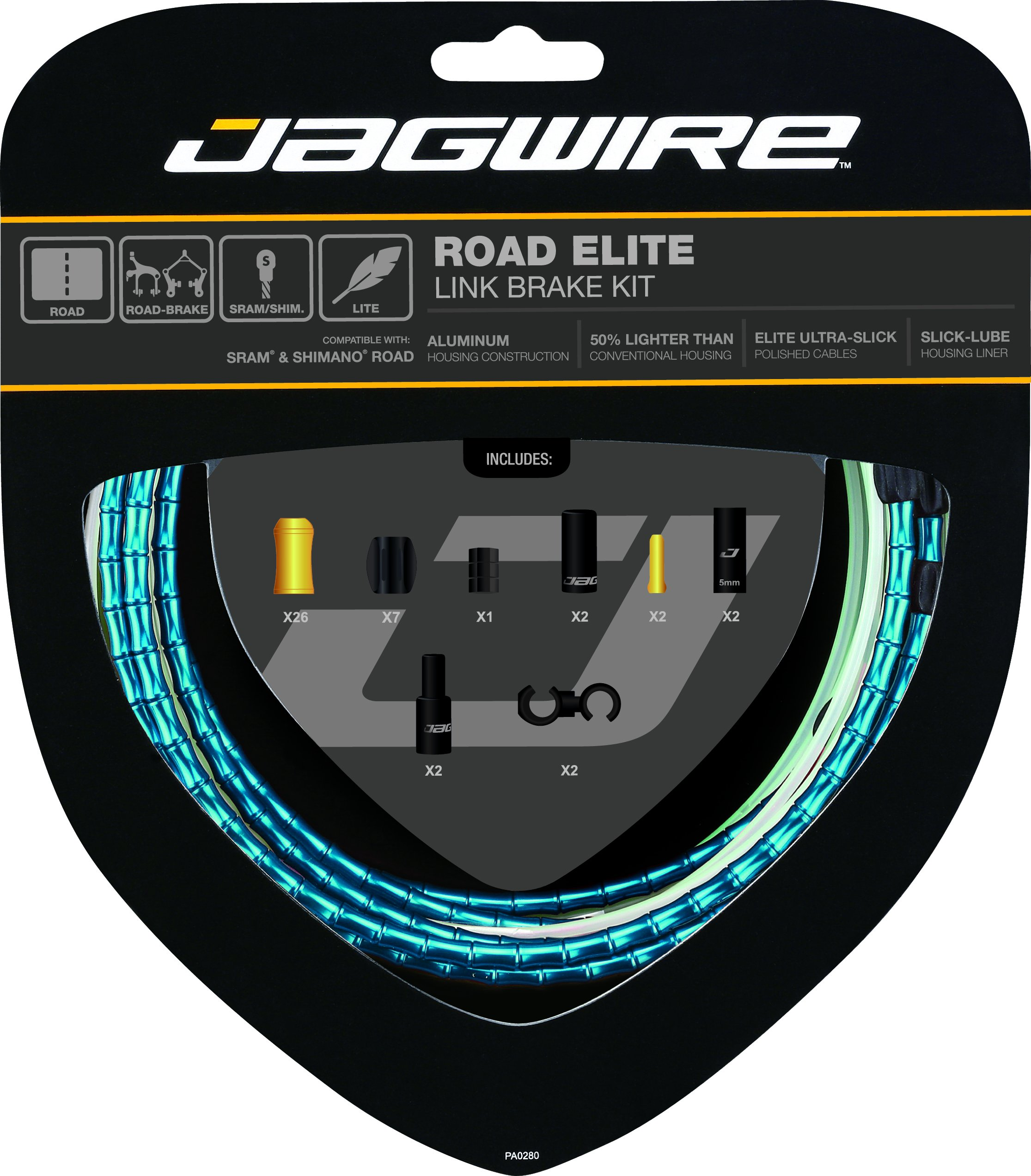 Jagwire Road Elite Link Brake Cable Kit Blue, One Size by Jagwire
