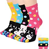 Flammi 4 Pairs Women's Funky Five Finger Toe Socks Cute Casual Crew Toe Socks
