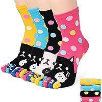 Flammi 4 Pairs Women's Funky Five Finger Toe Socks Cute Casual Crew Toe Socks
