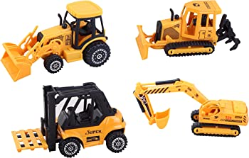 4-Pack Construction Vehicles Diecast Metal and Plastic