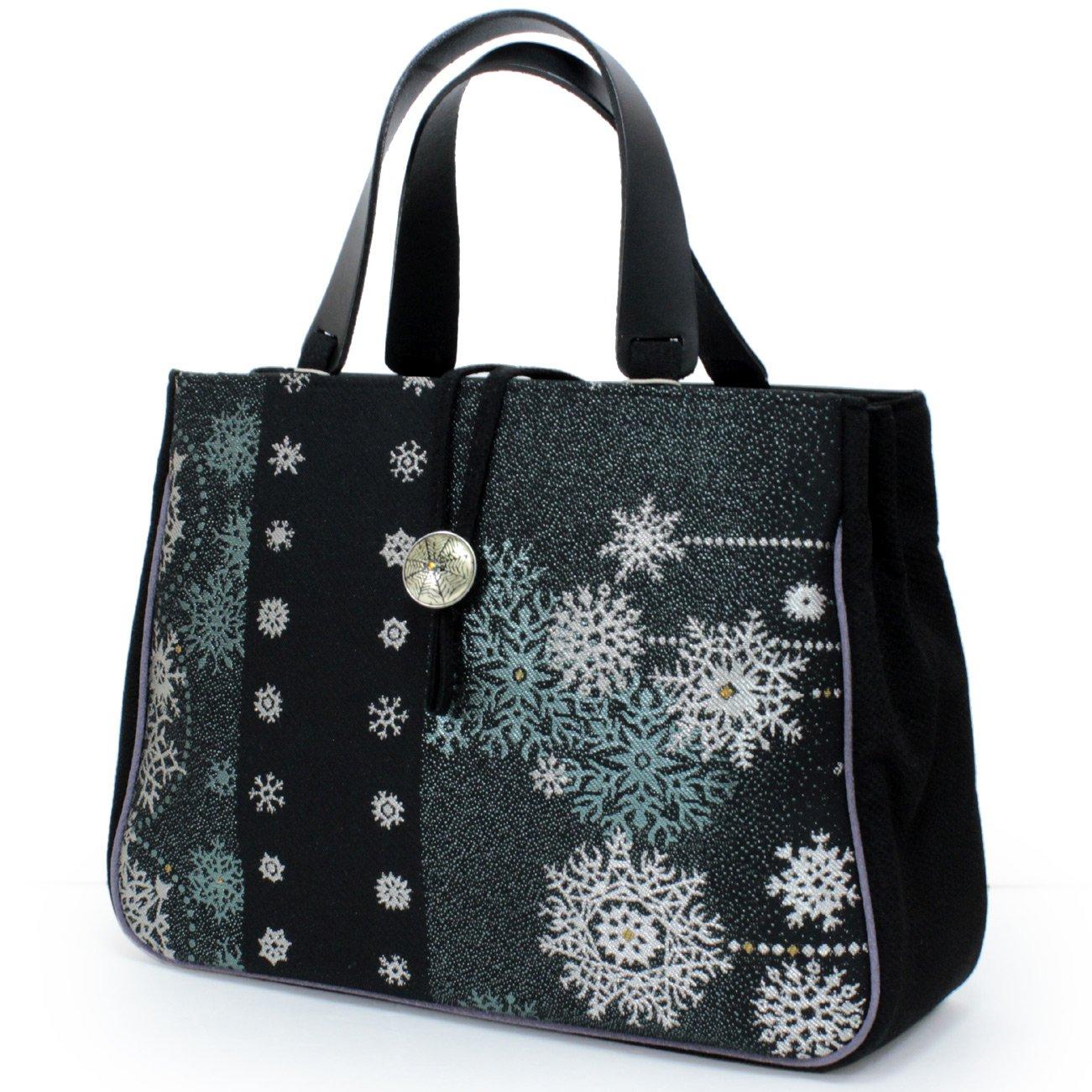きもの京小町 レディース クリスマス 着物 和装 小物 B077X7H4XC 黒地グリーンシルバー結晶柄 黒地グリーンシルバー結晶柄