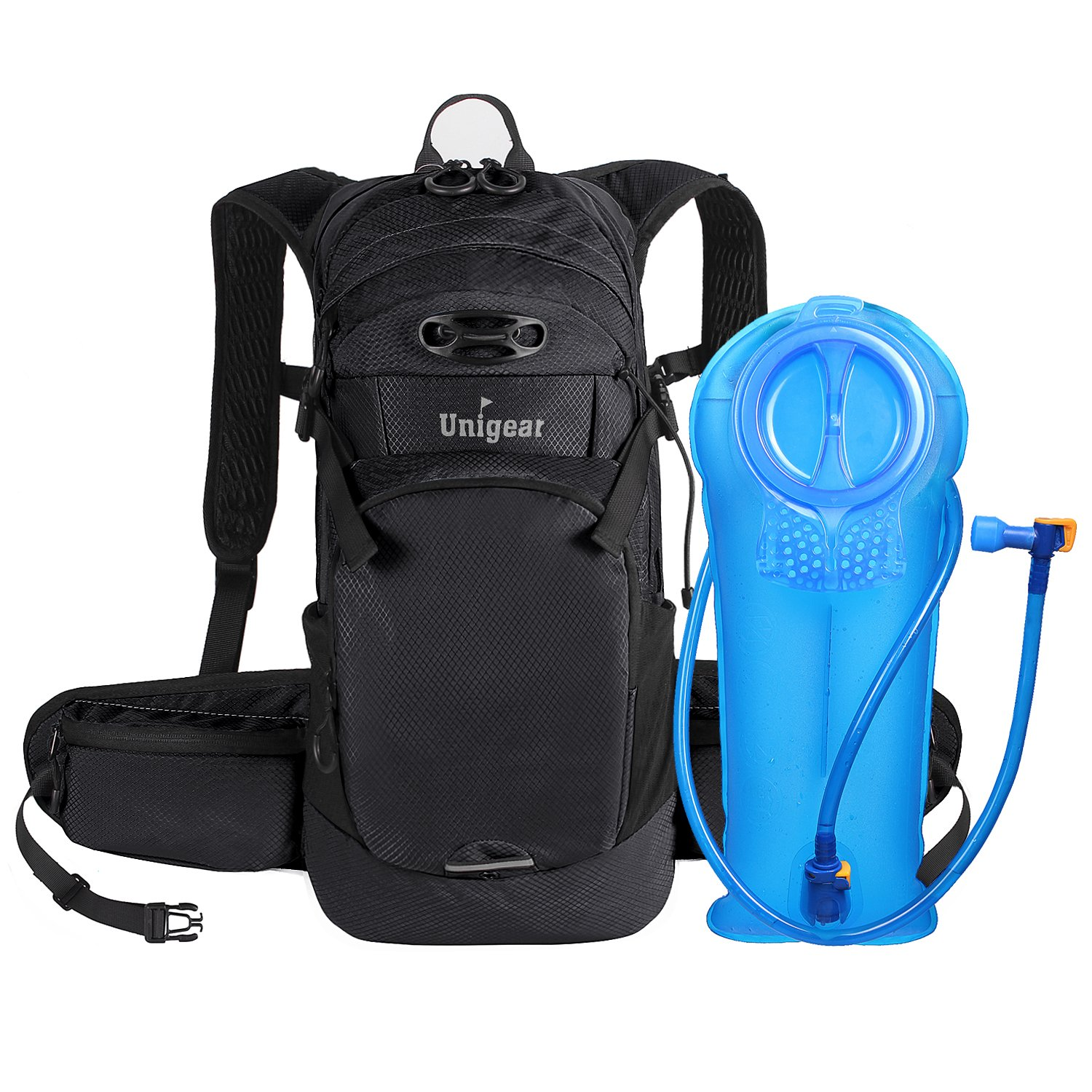 Unigear Hydration Packs Backpack with 2L TPU Water Bladder Reservoir, Thermal Insulation Pack Keeps Liquid Cool up to 4 Hours for Running, Hiking, Climbing, Cycling (Blackout)