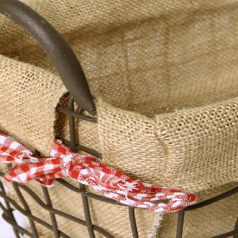 Adeco Rectangular Rustic Vintage-Inspired Iron Baskets Handles Burlap Lining Dark Brown Home Decor, Set of 3