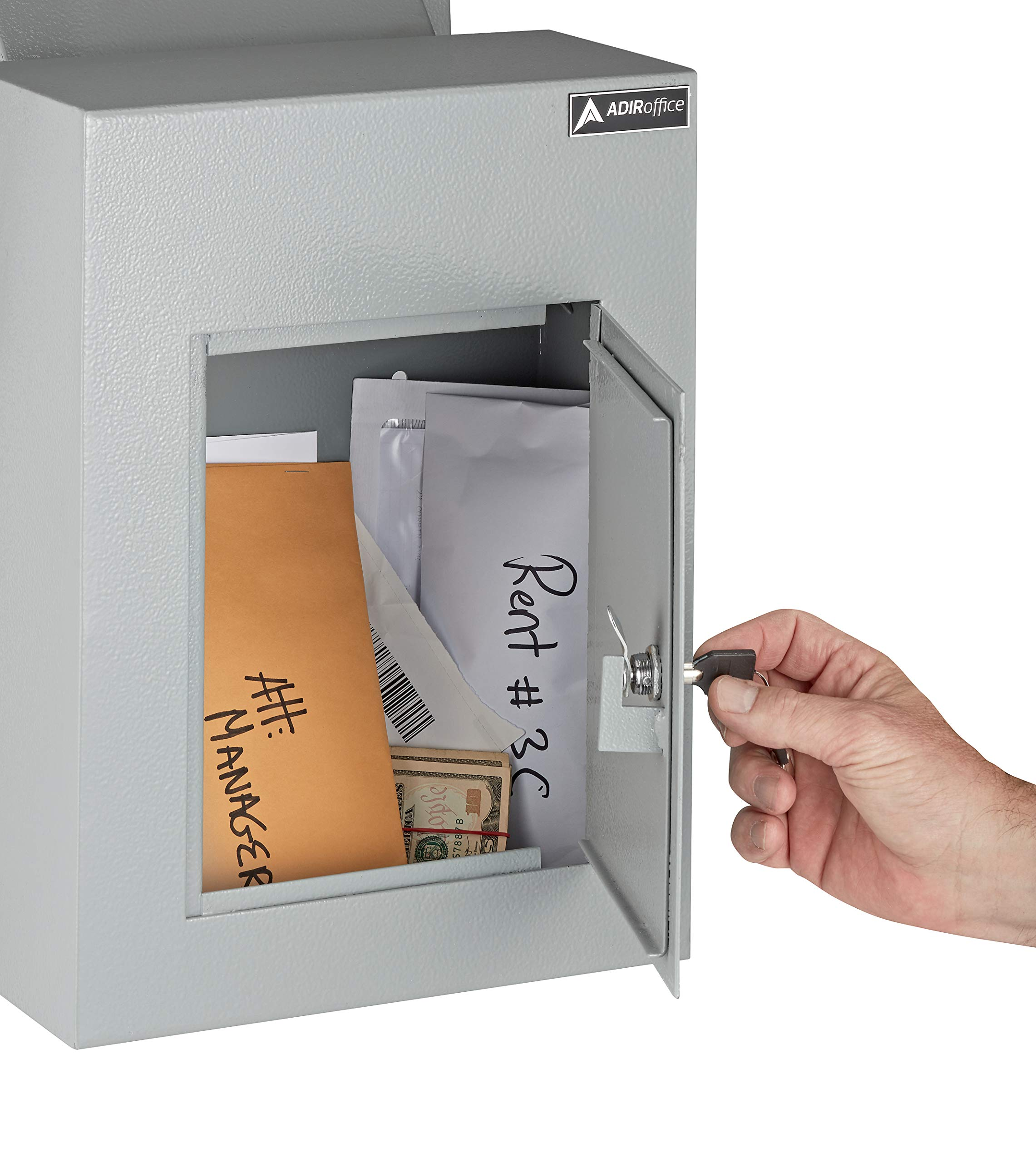 AdirOffice Through The Wall Drop Box Safe (Black/Grey/White) - Durable Thick Steel w/Adjustable Chute - Mail Vault for Home Office Hotel Apartment (Grey) by AdirOffice (Image #4)