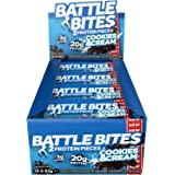 Battle Bites High Protein Bar, Low Carb and Low Sugar Protein Bars, Cookies & Cream, 12 x 62g Bars (2 x 31g Pieces per Bar) Baked by Battle Oats
