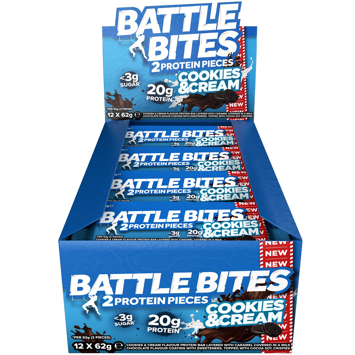 Battle Bites High Protein Bar, Low Carb and Low Sugar Protein Bars, Cookies & Cream, 12 x 62g Bars (2 x 31g Pieces per Bar) Baked by Battle Oats product image